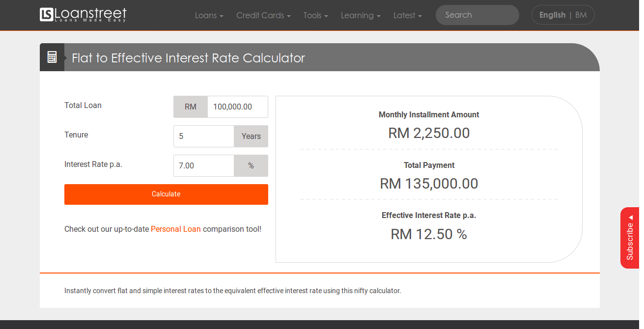 Flat to Effective Interest Rate Calculator