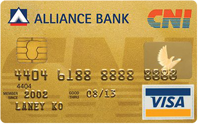 Alliance Bank CNI Gold Card