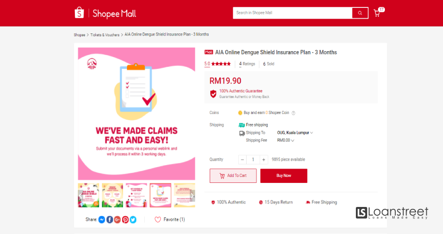 AIA General Berhad Launched AIA Online Shield (Protection from RM19.90)